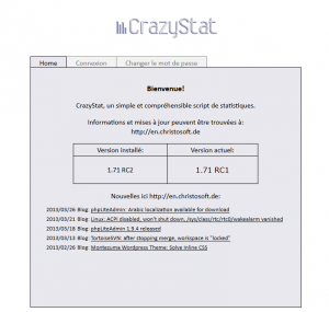CrazyStat Login Screen in French